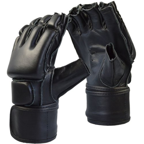 MMA gloves, Phoenix, opened fingers, leather, black
