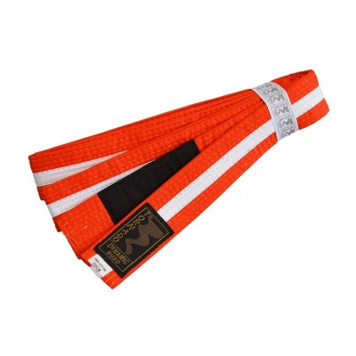 BJJ Belt, for Children, orange / white stripe
