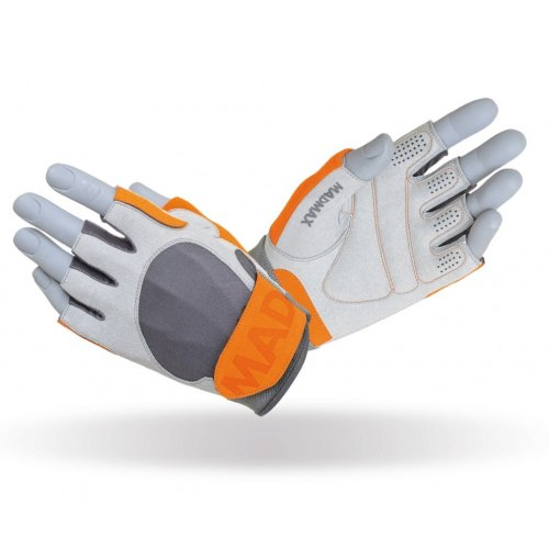 Fitness gloves, Madmax, Crazy, grey-orange, unisex