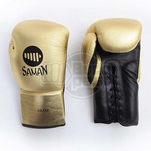 Boxing gloves, Felix Promotion, laced, golden, 10 oz size