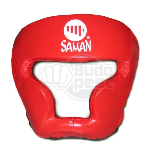 Head guard, Saman, Sparring II, with face protection, leather, red, M size