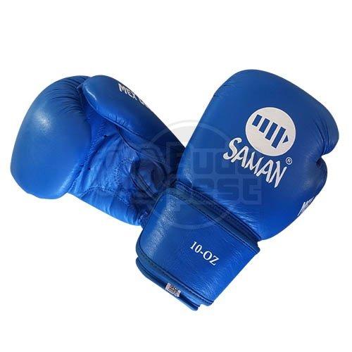 Boxkesztyű, Saman, Mex Glove, bőr, kék, 12 oz méret