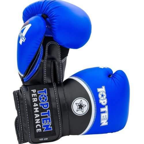 Boxing gloves, Top Ten, 4select, nubuk leather, Kék-fekete szín, 14 oz size