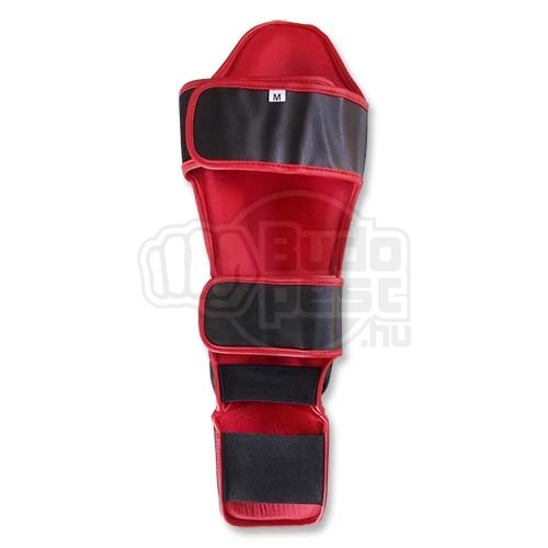 Thai Box Lábszárvédő, lábfejes, Saman, műbőr, fekete, M méret