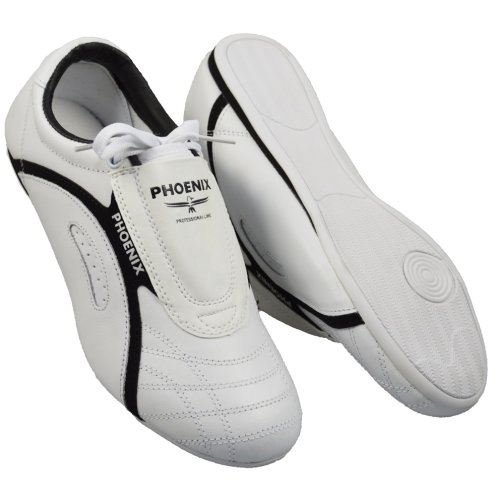 Taekwondo shoes, Phoenix, Professional Line, leather, white-black, 46 size