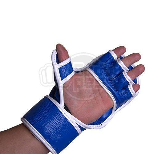 MMA gloves, Saman, Sparring, leather, blue/white