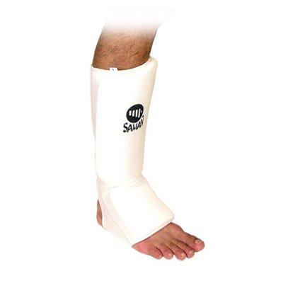 Lábszárvédő, Saman, lábfejes, pamut, szivacs betéttel, fehér