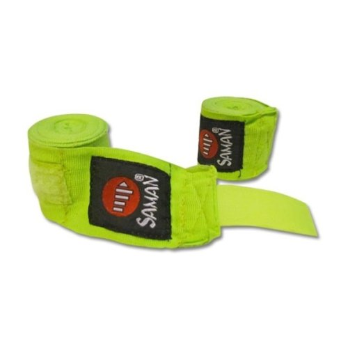 Bandage, Saman, flexible, cotton, green, 350 cm, 1 pair