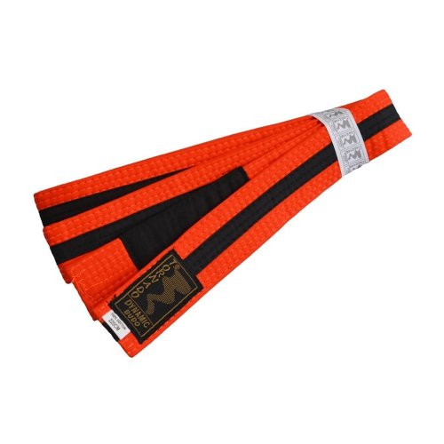 BJJ Belt, for Children, orange / black stripe, 220 méret