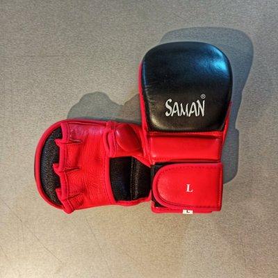 MMA kesztyű, Saman, Sparring, piros-fekete, L