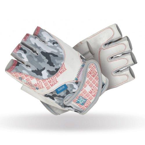 Fitness gloves, Mad Max, No matter, for women, Szürke-fehér szín, M size