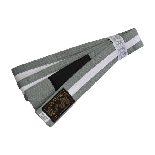 BJJ Belt, for Children, grey / white stripe, 240 méret