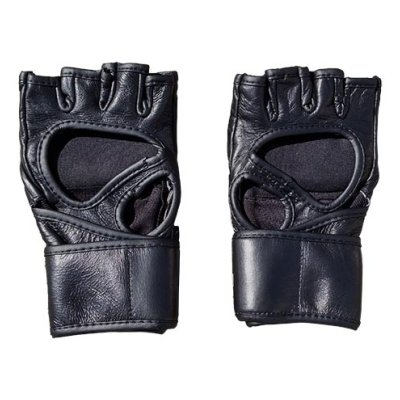 MMA gloves Open, Saman, leather, curved, black