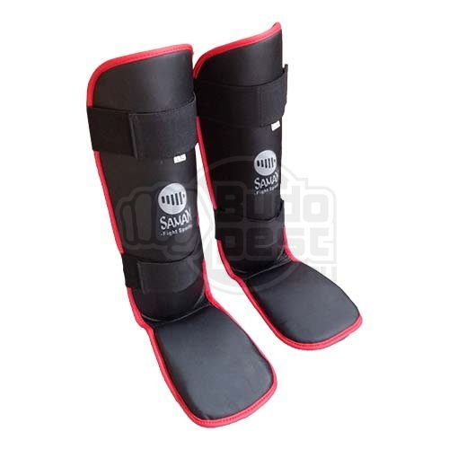 Shin and instep pad, Saman Eco, artificial leather, black, L/XL size