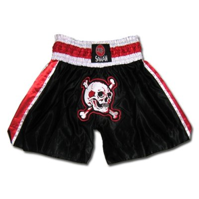Thai-Box trunks, Saman, polyester, black, skull style, XL size