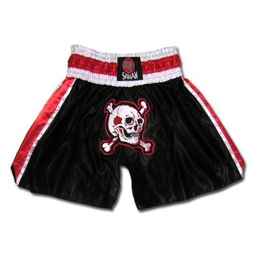 Thai-Box trunks, Saman, polyester, black, skull style, S size