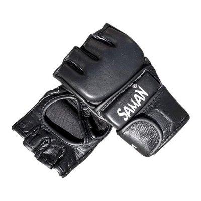MMA kesztyű, Open, Saman, bőr, hajlított, fekete