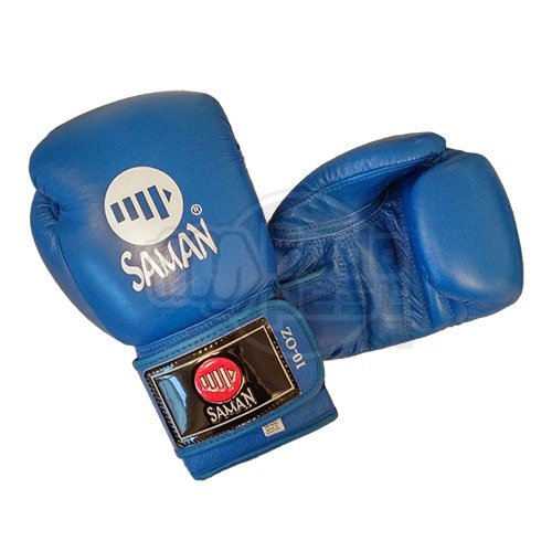 Boxing gloves, Saman, Competition, leather, blue, 12 oz size