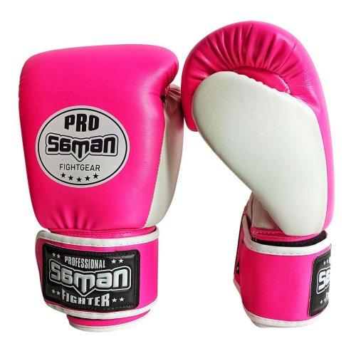 Boxkesztyű, Saman, Breeze, műbőr, pink/fehér, 10 oz