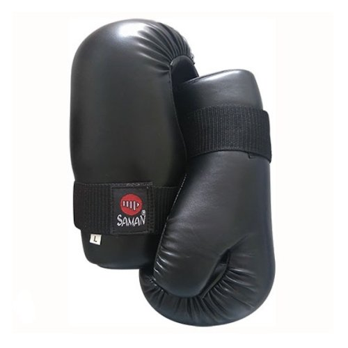 Semi-contact gloves, Saman, black, artificial leather