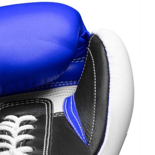 Boxing Gloves, Top Ten, Pro X, leather, Kék-fehér szín, 10 oz méret