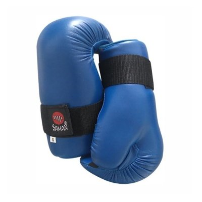 Semi-contact gloves, Saman, blue, artificial leather