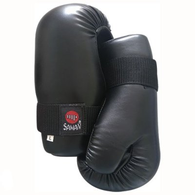 Semi-contact gloves, Saman, black, artificial leather, L méret