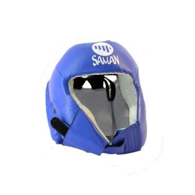Fejvédő, Saman, CONTEST, arcvédő nélküli, bőr, kék