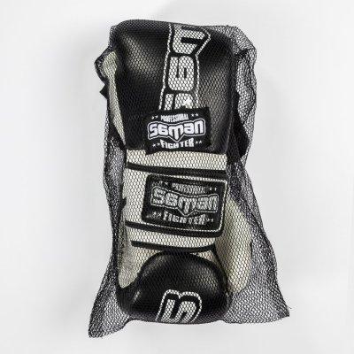 Boxkesztyű, Saman, Colours 1985, műbőr, fekete/fehér, 12 oz méret