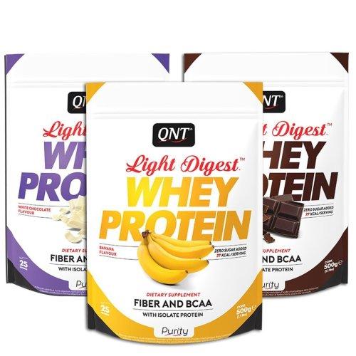 QNT, Light Digest, gluténmentes fehérje, 500 g, banán ízű