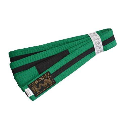 Öv, BJJ, gyerek, zöld-fekete csík, 220 méret