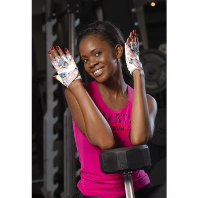 Fitness gloves, Mad Max, No matter, for women, Szürke-fehér szín, L size