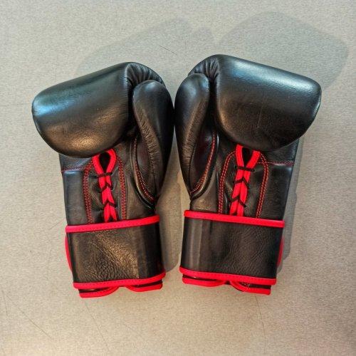 Boxkesztyű, bőr,fűzős-tépőzáras, fekete, 12 oz