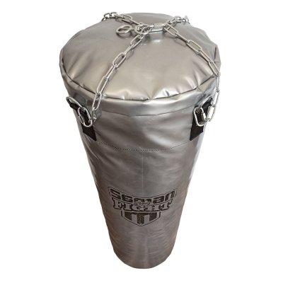 Boxzsák, Saman, Spirit of Fight, ezüst, 120x40 cm, műbőr, lánccal