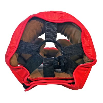 Head guard, Saman, Sparring II, with face protection, leather, red