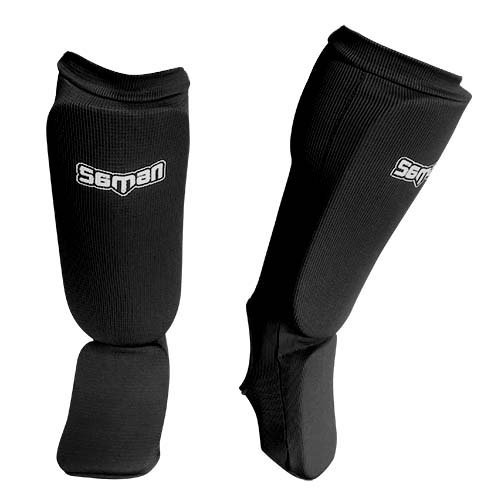 Shin and instep pads, Saman, elastic, black, M/L size