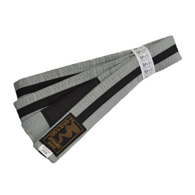 BJJ Belt, for Children, grey / black stripe
