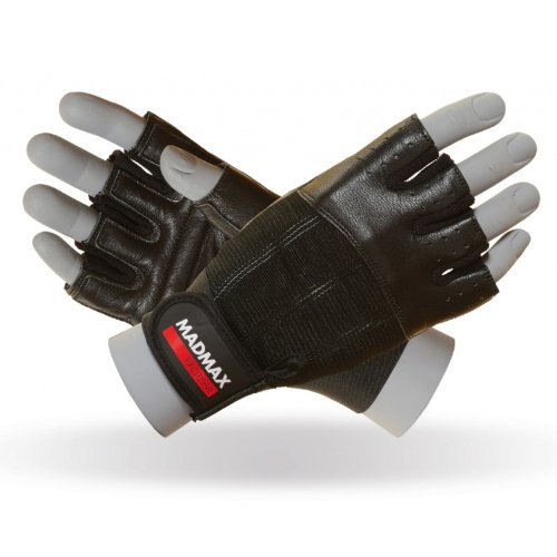 Fitness gloves, Mad Max, Clasic, for men, Fekete szín, L size
