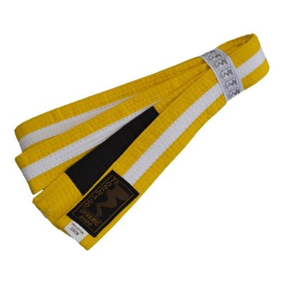 BJJ Belt, for Children, yellow / white stripe