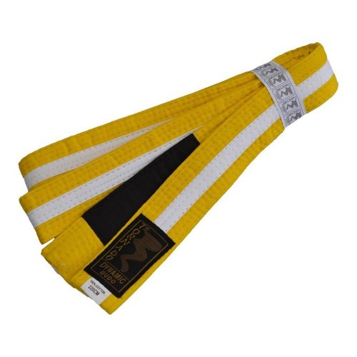 BJJ Belt, for Children, yellow / white stripe, 220 méret