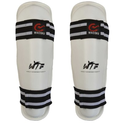 Shin guard, Wacoku, WTF, synthetic leather, white, M size