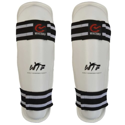 Shin guard, Wacoku, WTF, synthetic leather, white