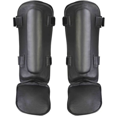 Thai box lábfejes lábszárvédő, Phoenix, bőr, fekete