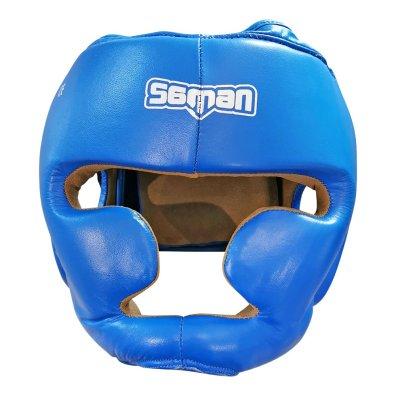 Fejvédő, Saman, SPARRING II, arcvédős, bőr, kék