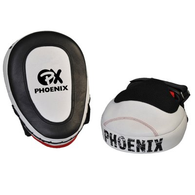 Focus mitt, gel, leather, curved, black-white