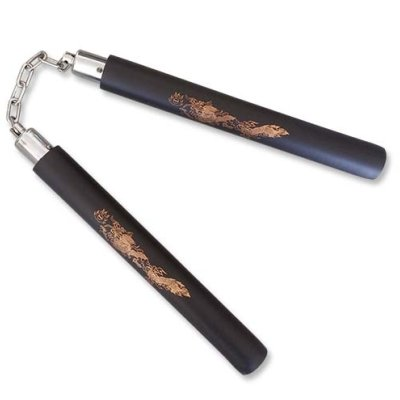 Nunchaku, foam, with chains, dragon printing, black