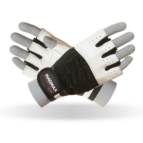 Fitness gloves, Mad Max, Clasic, for men, Fekete-fehér szín, L size