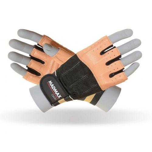 Fitness gloves, Mad Max, Clasic, for men, Barna szín, XL size