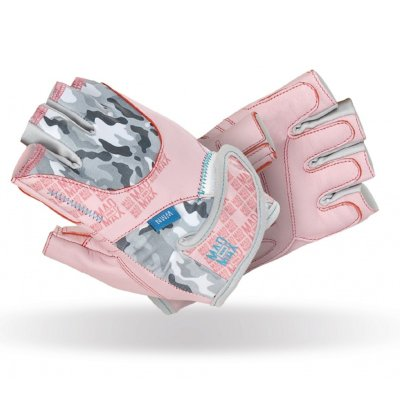 Fitness gloves, Mad Max, No matter, for women, Szürke-rózsaszín szín, S size