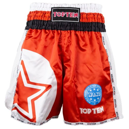 Kick-box shorts, Top Ten, WAKO Star, Piros szín, XL size